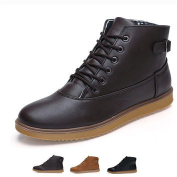 Classic Men's Leather Shoes Sneakers Warm High Top Martin Boots EUR39-44