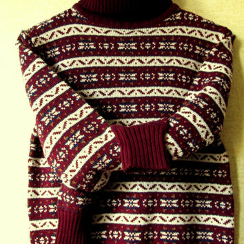 Patterned Sweater Turtleneck Pullover snowflake sweater vintage 70s 80s intarsia snowflake maroon marsala acrylic knit women small Knitivo