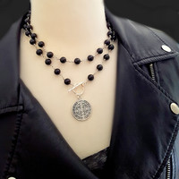 Black Onyx Bead Rosary Silver St Benedict Coin Necklace, Classic Jewelry with an Edge