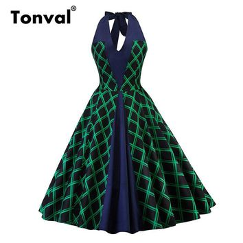 Tonval Green Plaid Halter Sexy Vintage Retro Dresses 1950s Rockabilly Women Party Audrey A Line Swing Dress