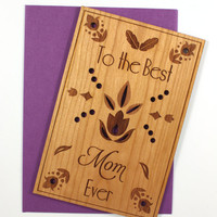 Mother's Day Card - Wooden Cards - Best Mom
