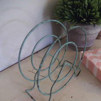 Vintage Wire Napkin Holder ~ Original Shabby Chic Turquoise ~ Letter holder ~ Kitchen ~ Office Organizer