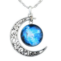 Galaxy Moon Necklace, Galaxy Necklace, Crescent Moon Necklace, Moon Necklace, Nebula Necklace,Galaxy Moon Leather Choker / Gift Box