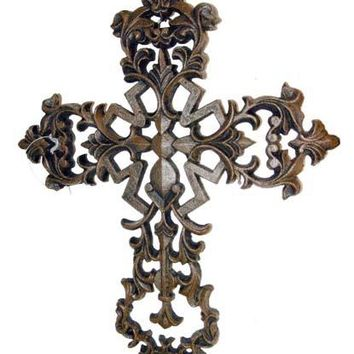 Cast Iron Fleur De Lis Cross With Scrolls