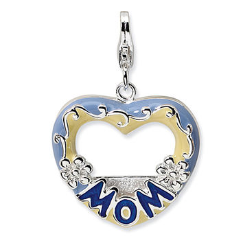 925 Sterling Silver Blue Enameled Heart Shaped Picture Frame Charm