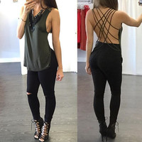 Sexy backless bandage shirt