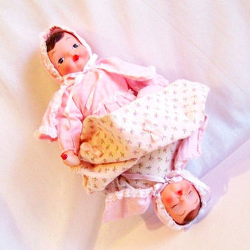 Topsy Turvy Doll: Waking / Sleeping Baby, Vintage Two Headed Doll in Pink - S1024