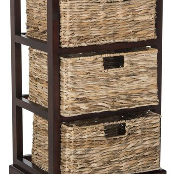 Halle 3 Wicker Basket Storage Side Table Cherry