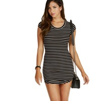 Black/white Crew Striped Midi Dress