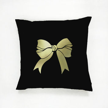Gold Bow Pillow, Bow Pillow, Home Decor, Cushion Cover, Throw Pillow, Bedroom Decor, Modern Pillow, Bed Pillow, Gold Pillow, Fashion Pillow