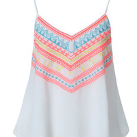 White Tribal Embroidery Layer Cami Vest