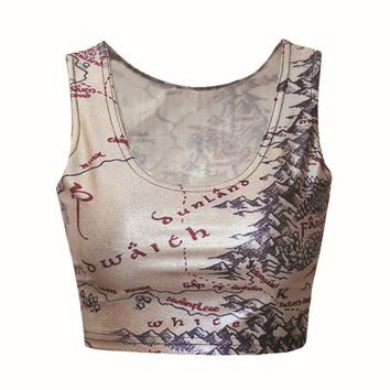 Gold Map Printed Crop Top - One Size - CT-067