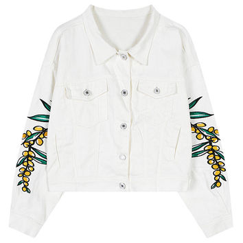 Embroidered Sleeve Button Down Coat