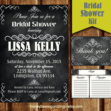 Custom Bridal Party Invitation - Bridal Shower Invites Kit - Bachelorette Party - Printable Chalkboard Bridal Wedding Shower Invitation