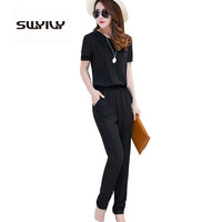 Women Jumpsuits Black Large Size 4XL Short-Sleeve Summer Overalls Chiffon One Piece Pants Lapel Long Trousers