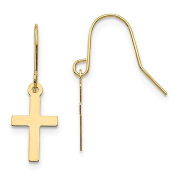 14k Yellow Gold Madi K. Cross Dangle Earrings - Religious Jewelry