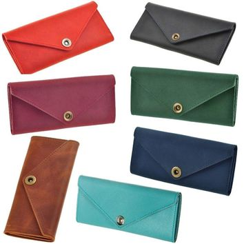 7 colors Women`s Handmade Genuine Leather Wallet Coin Change Purse