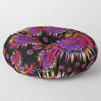 Psychedelic Glowing Mandalas Blue Purple Pink Floor Pillow by inspiredimages