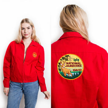 Vintage 60s BSA Jacket - Boy Scouts Red Cropped Patch Coat 1960s - Small