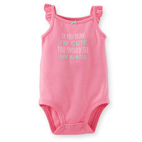 "Carter's Girls Pink ""If You Think I'm Cute You Should See My Auntie"" Sleeveless Slogan Bodysuit"