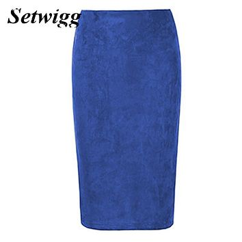 SETWIGG Ladies Faux Suede Midi Pencil Skirts Solid High Waist Velvet Suede Back Split Boydcon Midi Skirts Saias 6 Colors SG568