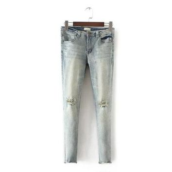 DCCK0OQ Autumn Women's Fashion Stylish Ripped Holes Cropped Pants Elastic Jeans [8542260615]
