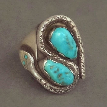 SIGNED Vintage Native American Navajo Turquoise RING Snake Motif Solid Sterling Silver Victor Chavez, Size 9.5, 14.6 Grams, Gift for Him