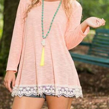 Pink Crochet Lace Trim Split Back Long Sleeve Blouse