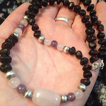 Rose Quartz, Amethyst and Baltic Amber Fertility Necklace Pregnancy Labour Birth Midwife Doula Gift