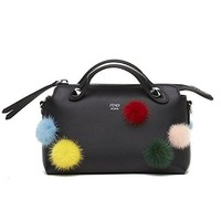 Fendi Mini By The Way Fur Pom-Pom & Leather Boston Handbag