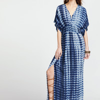 Blue Tie Dye Print Double V-Neck Kimono Dress