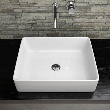 Gio White Rectangular Ceramic Vessel Sink Above Counter Sink Lavatory Washbasin
