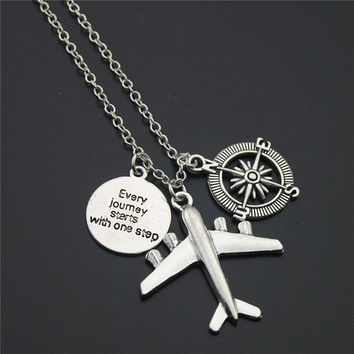 Travel Necklace Compass Quote Plane