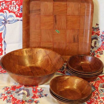 Vintage Wood Bowl Set- Wood Platter- Retro- Mid Century Kitchen- Glamping- Decor- Serving- Salad Bowl- Cereal Bowl- 10 Piece Set