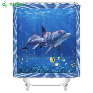 3D Dolphin Shower Curtain 180x180cm/150 * 180 cm Waterproof  Polyester Shower Curtain Bathroom Decorations