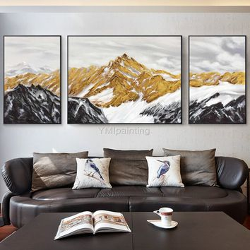 3 pieces Wall Art mountains Peaks Modern landscape moon Gold abstract Acrylic Painting on canvas Blue Original Pictures cuadros abstractos