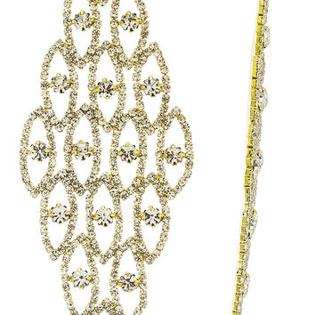 Fancy Style Extra Large Long Earrings with Rhinestones and Clear Stones (Goldtone w/ Clear)