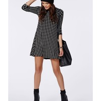 Missguided - Mikita Long Sleeve Swing Dress Grid Check