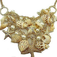 Basket Hill Watches, Gold Tone , Faux Pearls and Sea Shell , Star Fish Necklaces