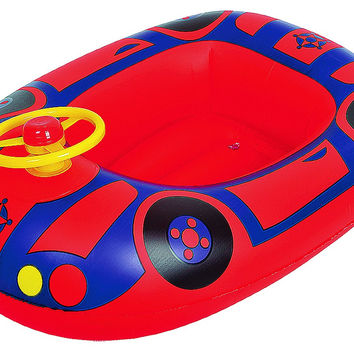 """27"""" Red and Blue Children's Car Swimming Pool Inflatable Baby Boat Float"""