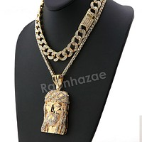 Hip Hop Quavo Jesus Face Miami Cuban Choker Chain Tennis Necklace L27