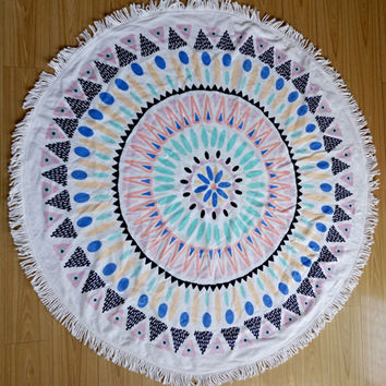 Bohemian Round Beach Tapestry Hippie Throw Yoga Mat Towel Roundie 120cm Diameter