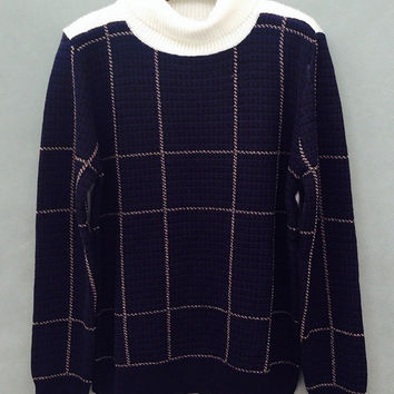 Blue Plaid Cuff Sleeve Turtleneck Sweatshirt
