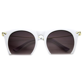 SMOOTH CUTTER HALF FRAME SUNGLASSES - WHITE