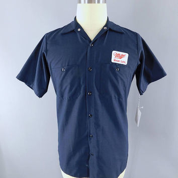 Miller High Life Beer / Delivery Man / Navy Blue SMALL Short Sleeve / Work Shirt / Beer Patch / Patches