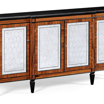 "Cameron 74"" Marble Credenza, Black, Buffets & Sideboards"