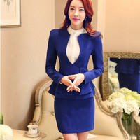 Plus Size 4XL Autumn Winter Professional Business Women Suits With Jackets And Skirt Ladies Blazers Outfits Elegant Blue