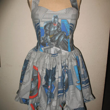 Custom Made to Order Batman Masked Super Hero Dark Knight SweetHeart Ruffled Halter Mini Dress