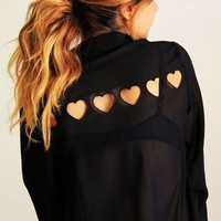 Tiny Hearts Cut Out Back Middle-length Sleeves Chiffon Shirt