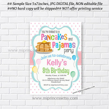 Shop sleepover party invitations on wanelo pancakes and pajamas party invitation pancakes birthday invitations pajama party sleepover pancakes any filmwisefo